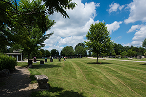 Cemetery grounds with mature trees