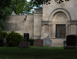 Front of a mausoleum